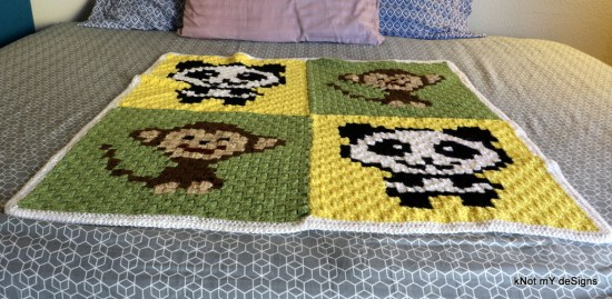 Crochet C2C Panda Monkey Baby Blanket - Knot My Designs