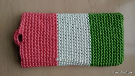 Crochet Tiranga Loop Wristlet Mobile Cover - Knot My Designs