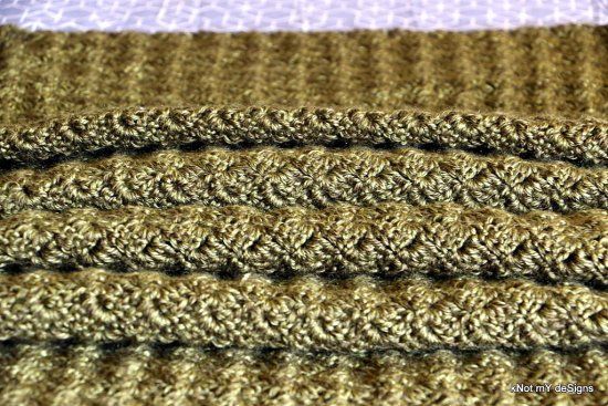 Crochet Olive Shell Rectangular Shawl for an adult woman - Knot My Designs