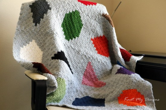 Crochet C2C Geometricised Colour Baby Blanket / Graphghan - Knot My Designs
