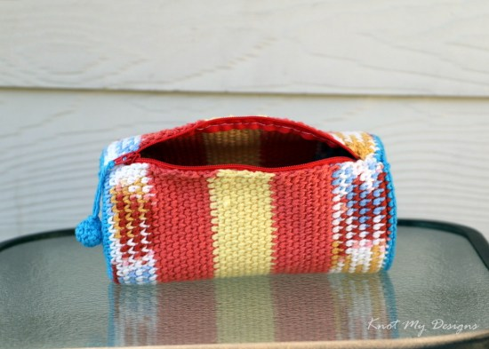 Crochet Tangerine Punch Travel Pouch Free Pattern - Knot My Designs