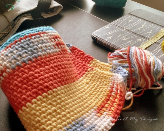 Tangerine Punch Zipped Pouch in Progress - Knot My Designs