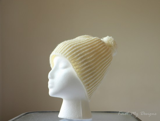 Crochet Buff White Ribbed Hat Free Pattern - Knot My Designs