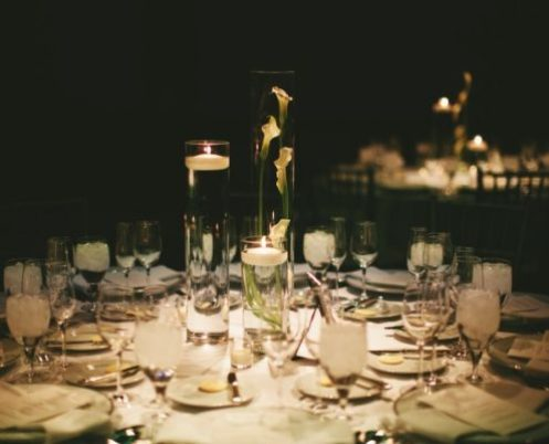 Wedding Table Setting with Floating Candles and Flowers