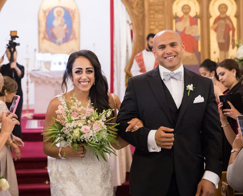 Egyptian wedding ceremony in Raleigh NC, bride & groom with bouquet