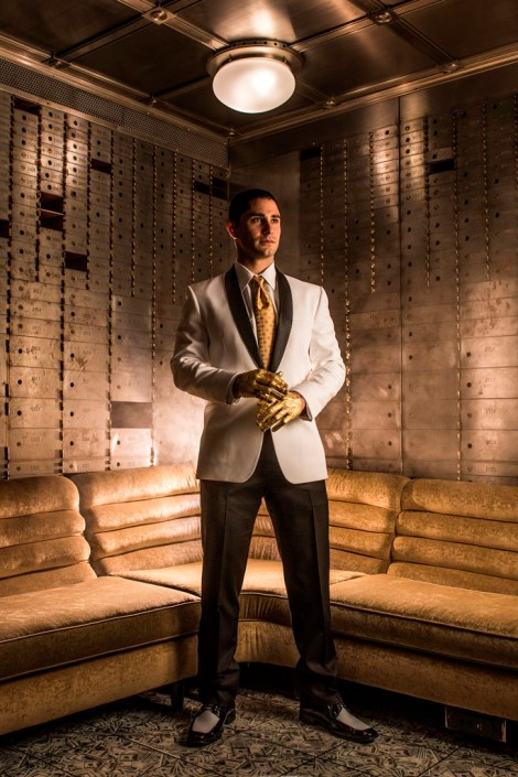 metal and gold wedding inspiration groom photo details