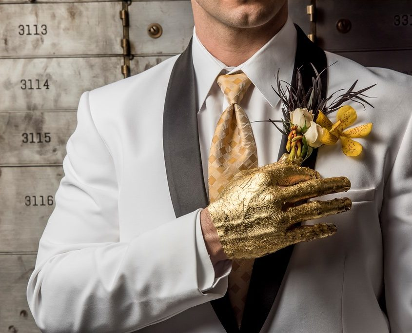 metal and gold wedding inspiration groom floral details