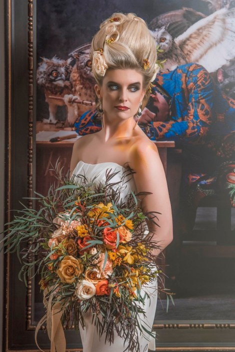metal and gold wedding inspiration bridal photo and details