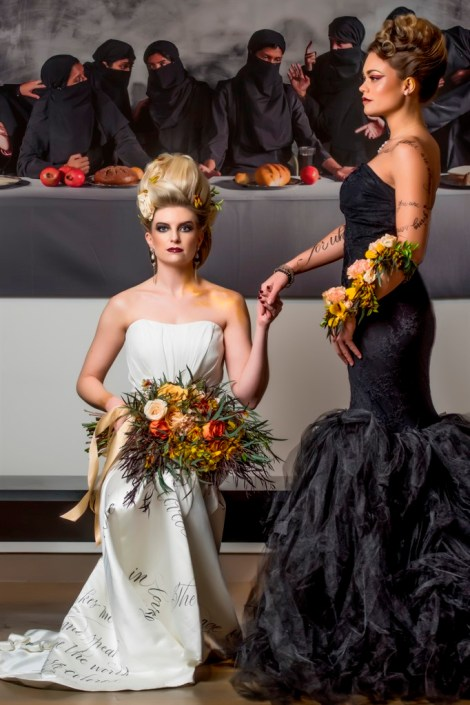 metal and gold wedding inspiration bridal party photo