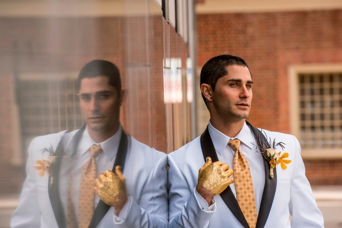 metal and gold wedding inspiration groom portrait