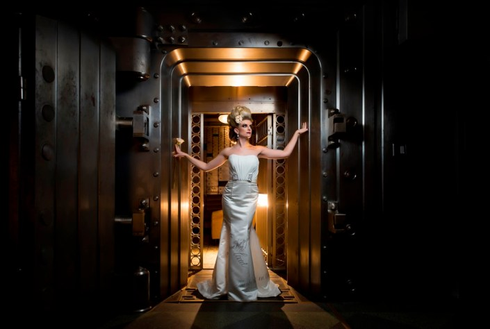 metal and gold wedding inspiration bridal portrait