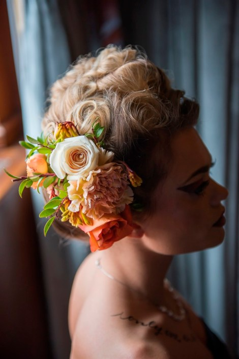 metal and gold wedding inspiration headpiece profile