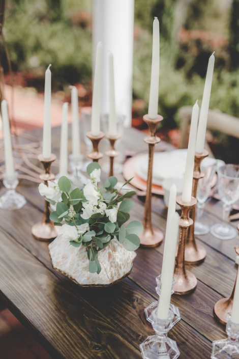 sweetpea centerpiece with copper accents