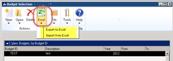 Budget template for Dynamics GP