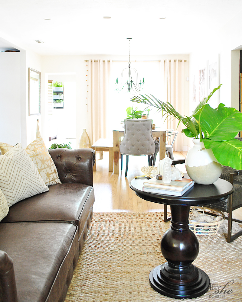 Summer inspired living room and dining area