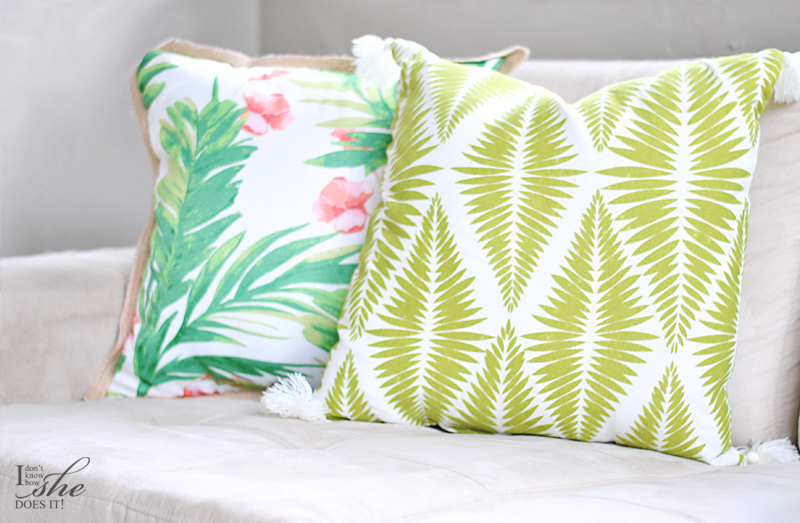 A set of tropical inspired pillows