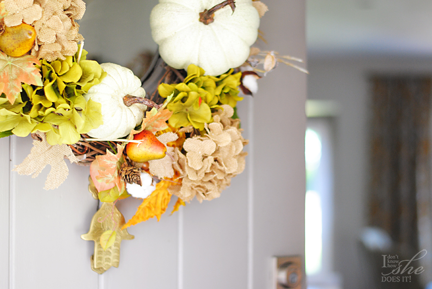 Gray wooden door harvest decor
