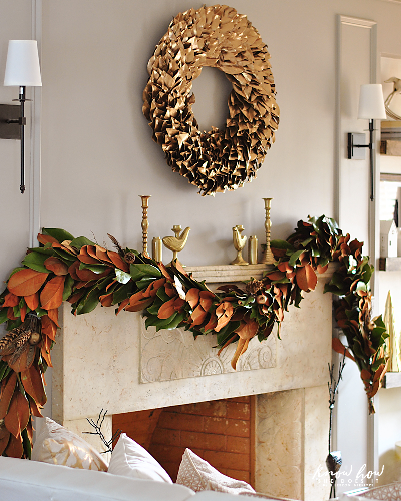 Magnolia leaves mantle decor 1