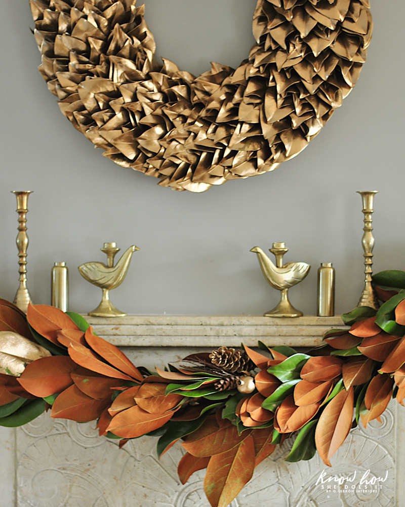 Magnolia leaves mantle decor 2