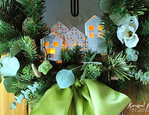 little metal houses in wreath