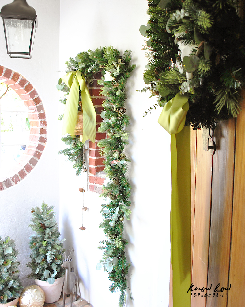Small Porch Christmas door decor