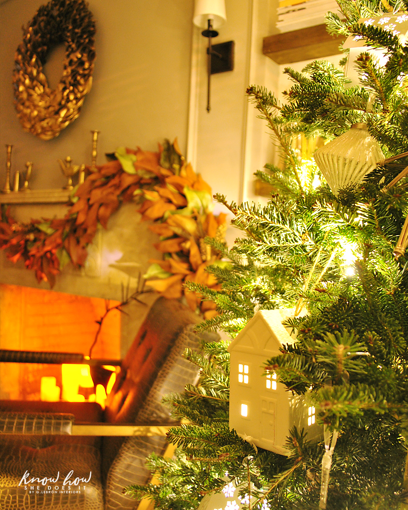 Holiday Small Home Tour mantel night 2