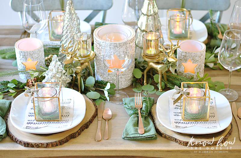 Winter Inspired Holiday Tablescape Centerpiece