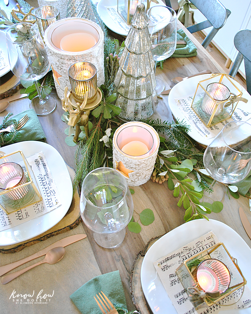 Winter Inspired Holiday Tablescape Centerpiece Top