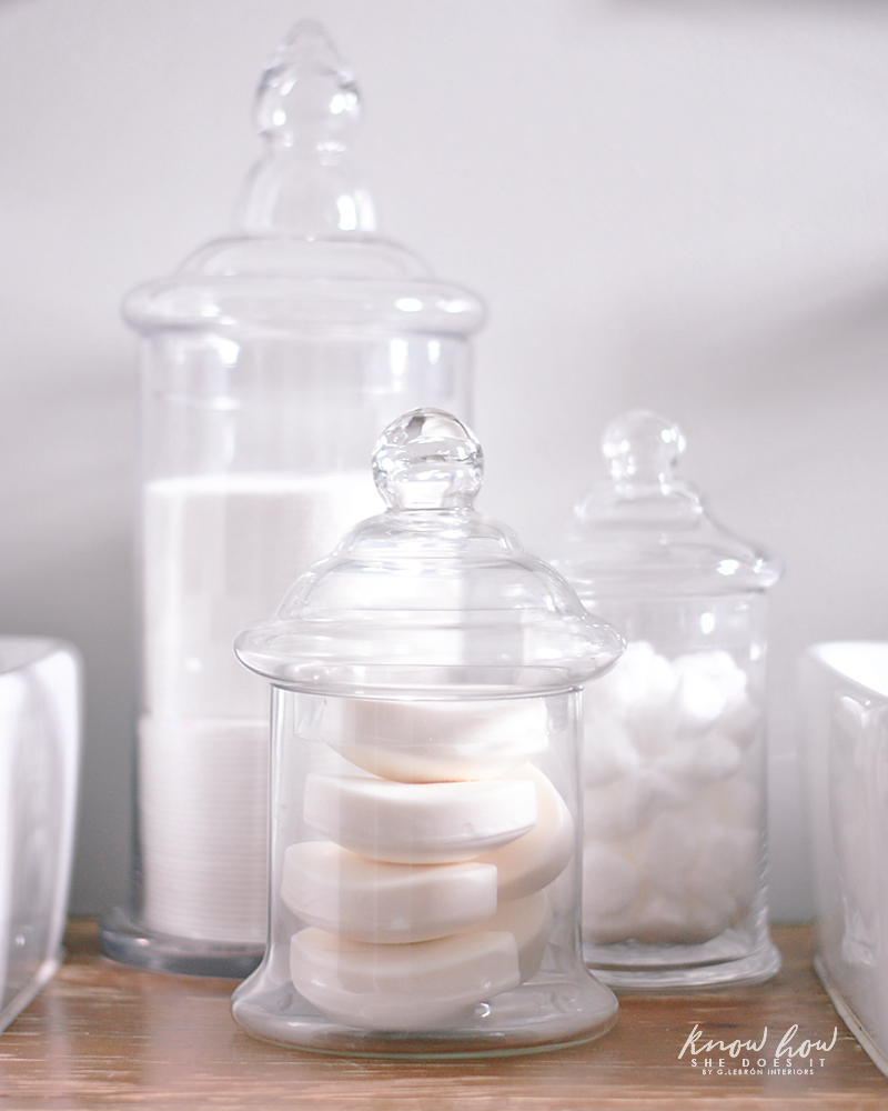 Bathroom Organization apothecary jars