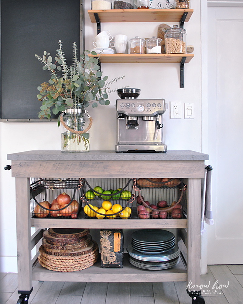Coffee station and storage ideas for small kitchens cart 2
