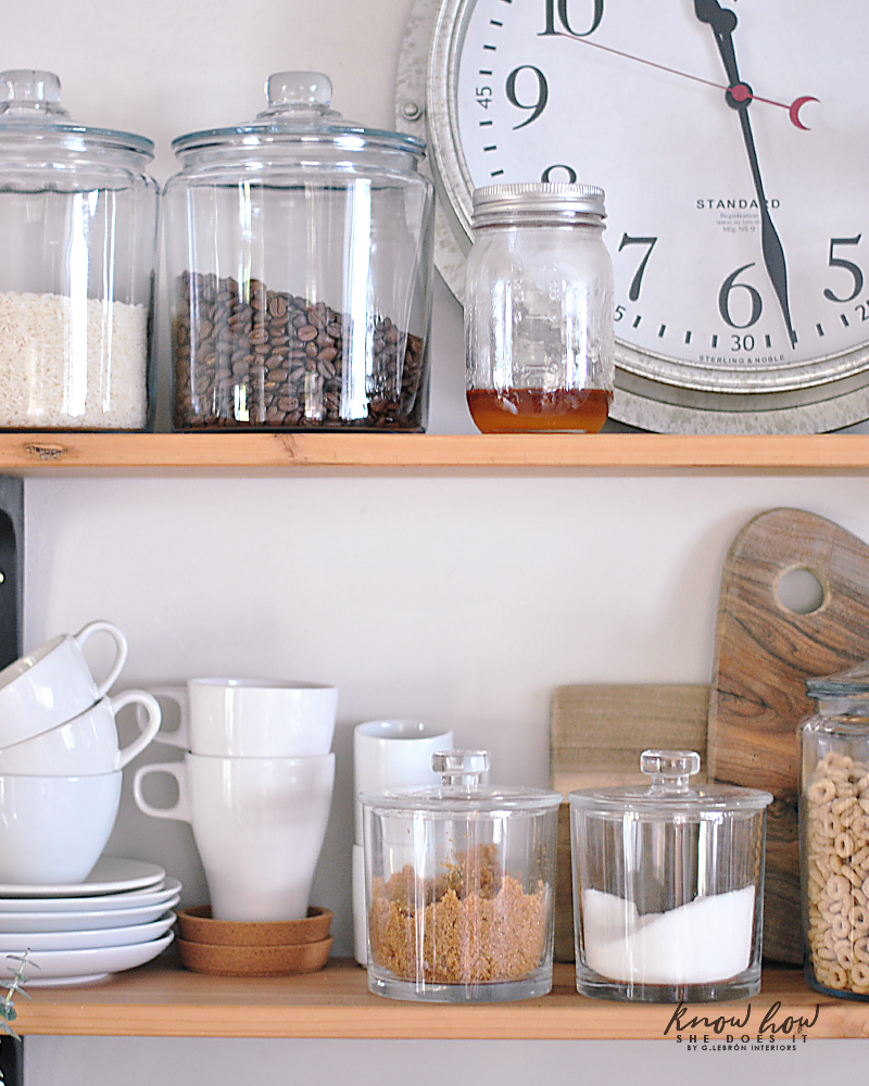 Coffee station and storage ideas for small kitchens wall shelves