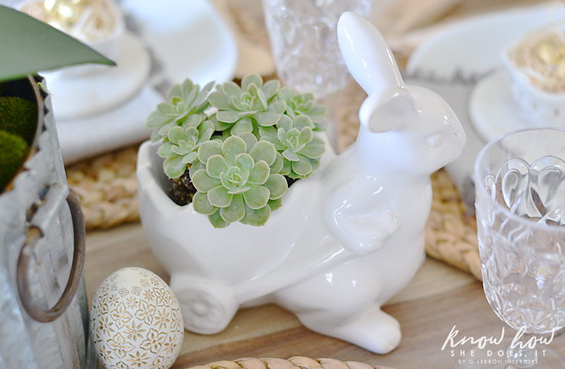 Easter kids friendly table setting succulent bunny 2