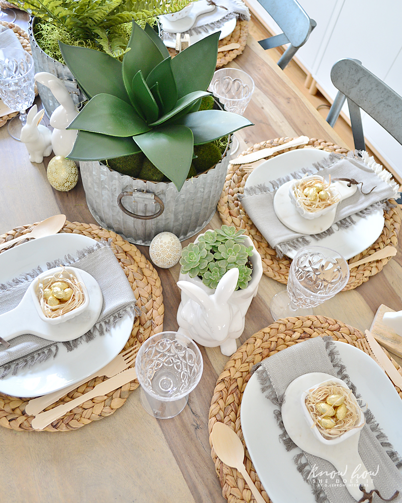 Easter kids friendly table setting top view