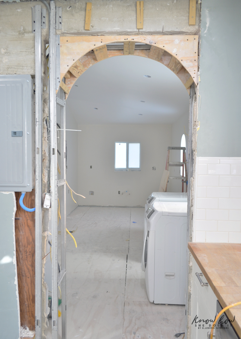 Small kitchen remodeling; talking about walls, floors and a budget hit Arched Walkway