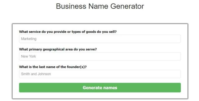 Fit Small business name generator