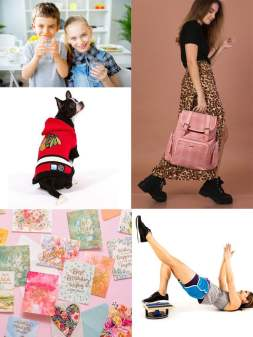 picture examples of some of the wholesale products and dropship products added; water treatment, diaper bags, pet clothes, greeting cards, fitness eqiupment