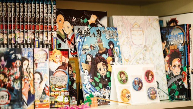 A collection of anime goods for sale in Yuuki's store