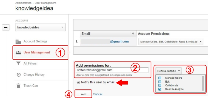 How to Add, Modify and Delete User in Google Analytics step_3