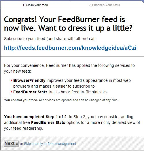How to Setup FeedBurner For WordPress Step 3