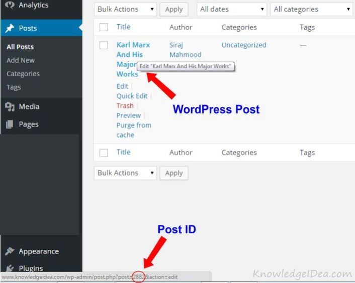 How To Find WordPress Post and Page ID Numbers step 1