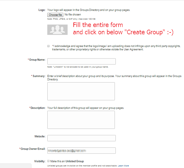 How to Create My LinkedIn Group Step 3