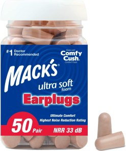 Mack's Ultra Soft Foam Earplugs, 50 Pair – 33dB Highest NRR, Comfortable Ear Plugs for Sleeping, Snoring, Travel, Concerts, Studying, Loud Noise, Work