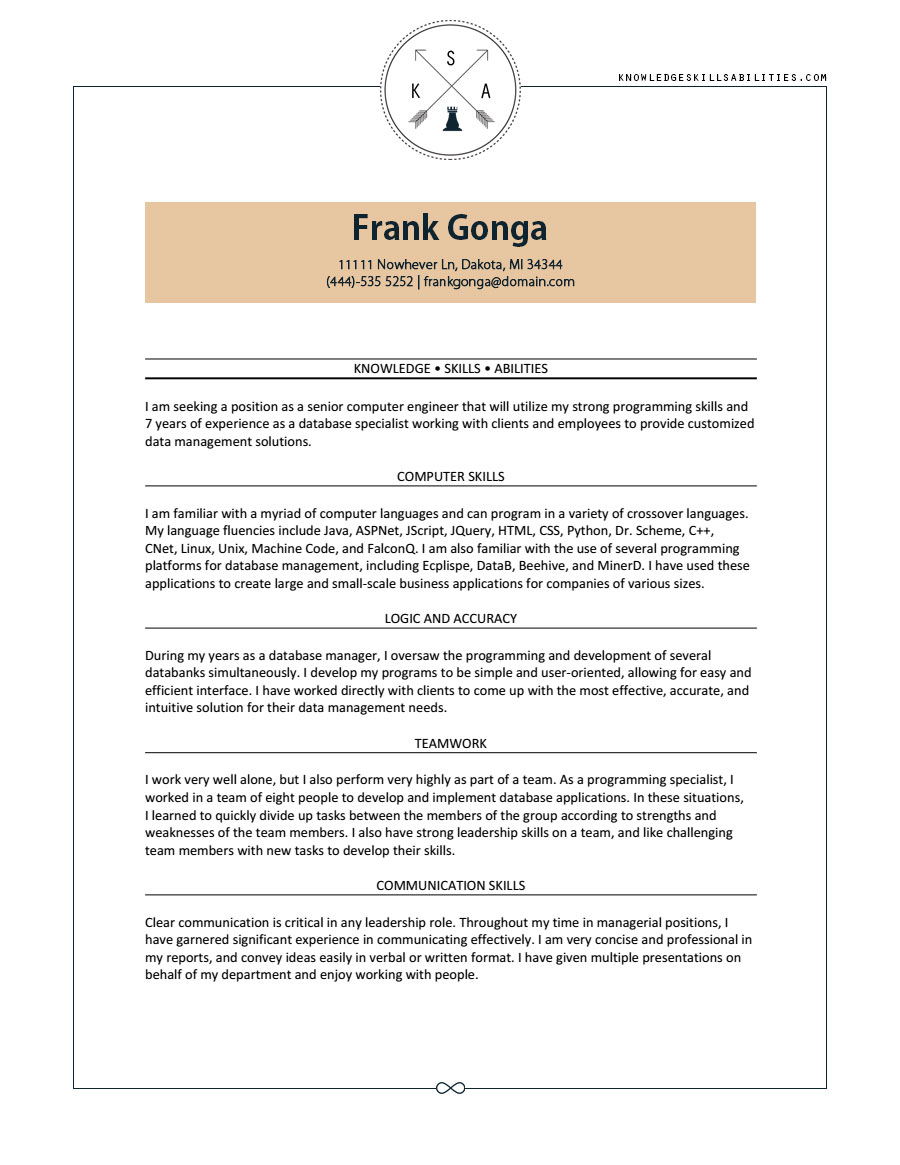 Knowledge Skill And Ability Writing Help Knowledge Skills Abilities