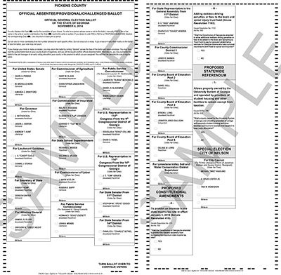 Pickens County Sample Ballots for November 4, 2014 General