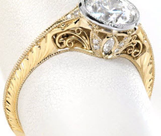 Antique Bezel Set Diamond Engagement Rings In Omaha Feature Intricate Vintage Inspired Details Gorgeous Two