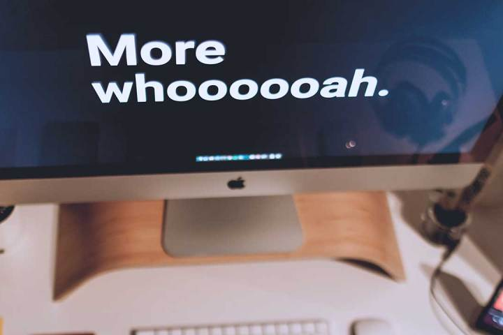 """Closeup of a computer screen with the words """"More whoooooah."""""""