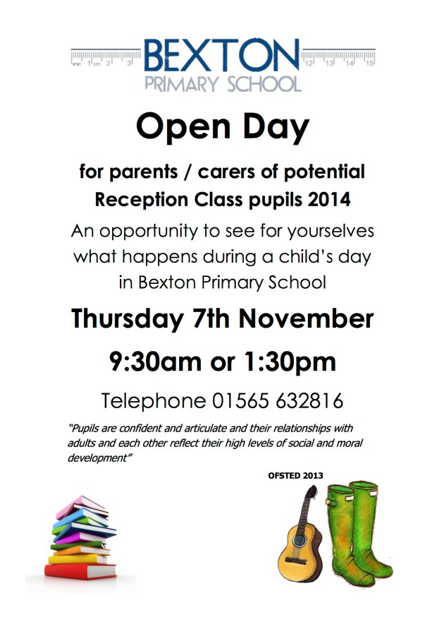 Open Day Reception flier