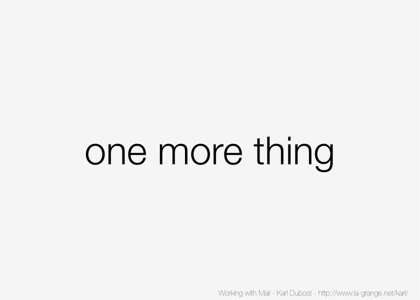 Slide 21 - One last thing