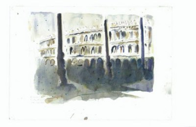 Piazza San Marco Early Morning 1989 Watercolour