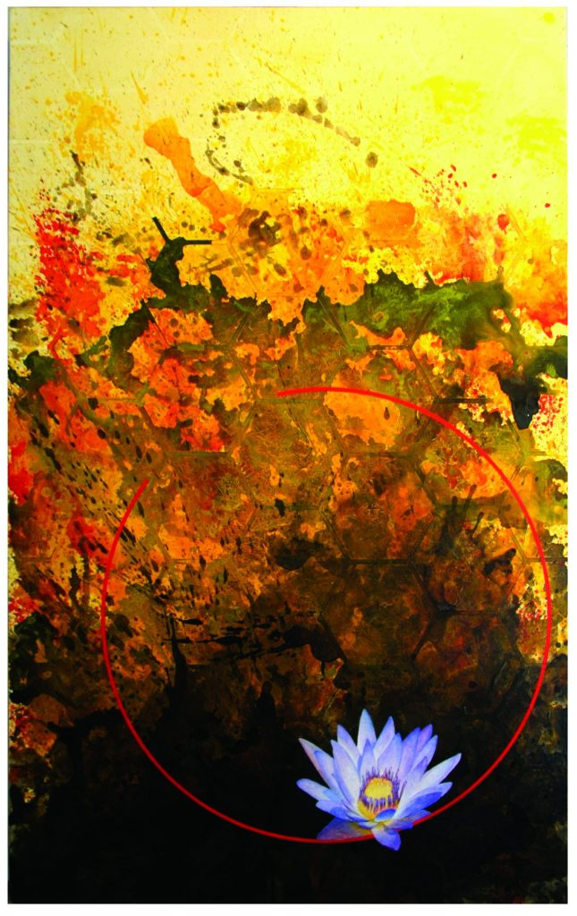 "Dave Casey ""Blue Lotus"", 2009 48"" x 30"" Acrylic on Canvas"
